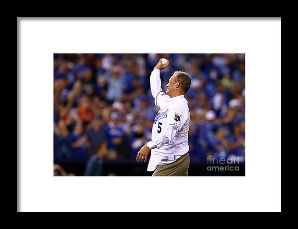 Game Two Framed Print featuring the photograph George Brett by Elsa