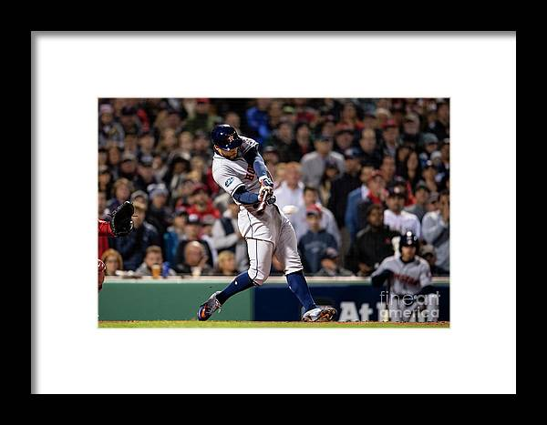 People Framed Print featuring the photograph George Springer by Billie Weiss/boston Red Sox