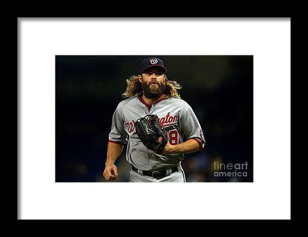 American League Baseball Framed Print featuring the photograph Jayson Werth by Mike Ehrmann