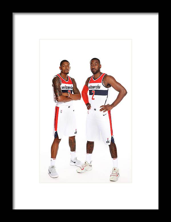 Media Day Framed Print featuring the photograph John Wall and Bradley Beal by Ned Dishman