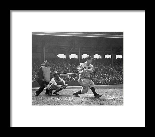 People Framed Print featuring the photograph Lou Gehrig by National Baseball Hall Of Fame Library