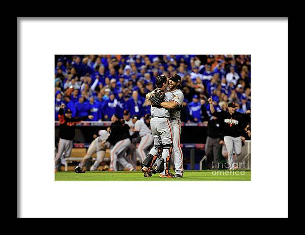 People Framed Print featuring the photograph Madison Bumgarner and Buster Posey by Jamie Squire