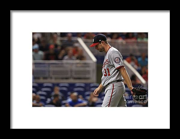 Second Inning Framed Print featuring the photograph Max Scherzer by Mike Ehrmann
