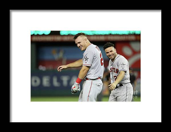 Three Quarter Length Framed Print featuring the photograph Mike Trout by Rob Carr