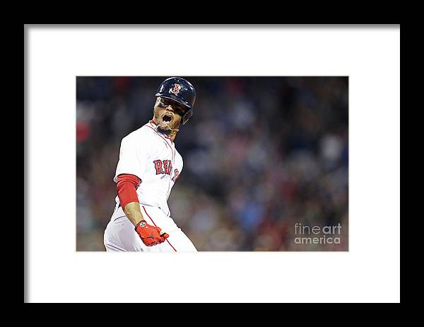 Three Quarter Length Framed Print featuring the photograph Mookie Betts by Maddie Meyer