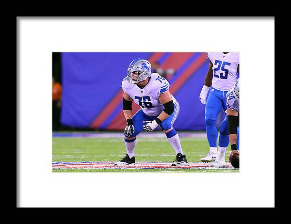 American Football Framed Print featuring the photograph NFL: SEP 18 Lions at Giants by Icon Sportswire
