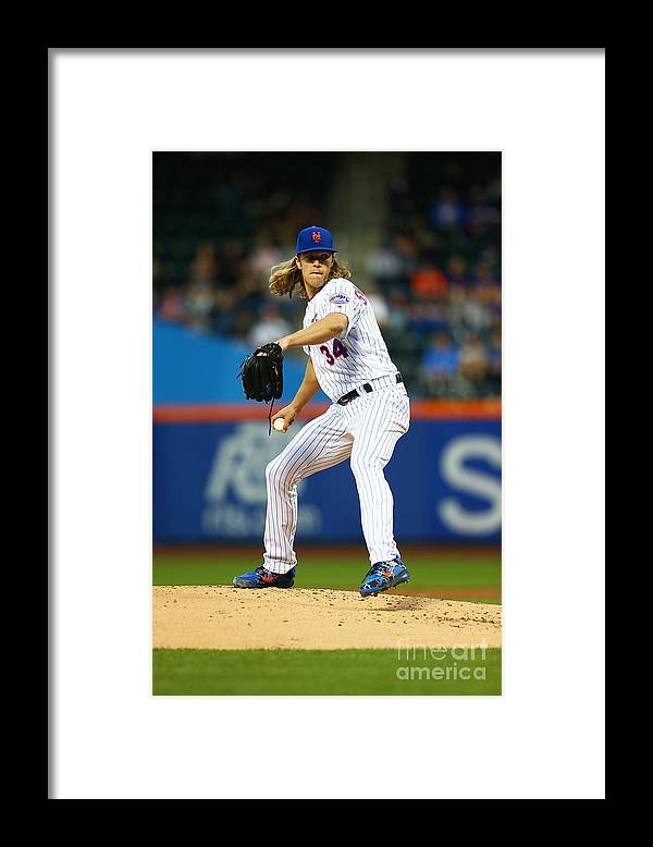 Second Inning Framed Print featuring the photograph Noah Syndergaard by Mike Stobe