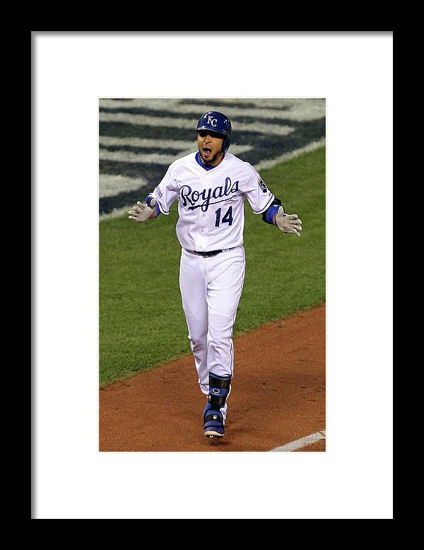 Game Two Framed Print featuring the photograph Omar Infante by Ed Zurga