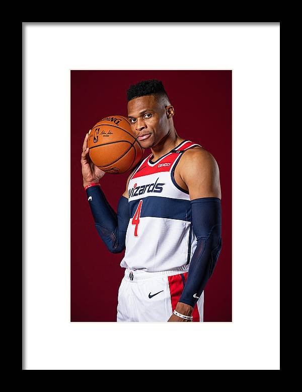 Media Day Framed Print featuring the photograph Russell Westbrook by Stephen Gosling