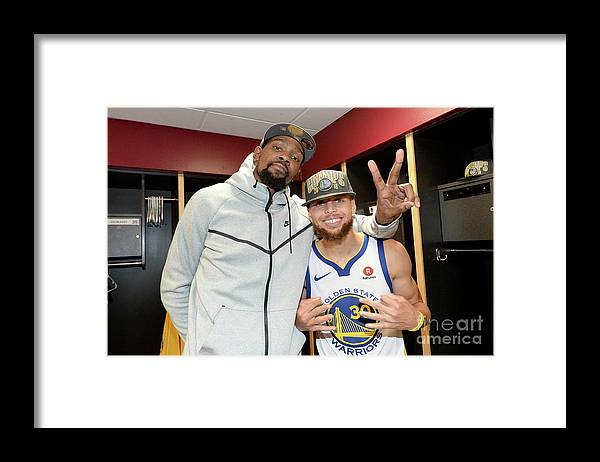 Playoffs Framed Print featuring the photograph Stephen Curry and Kevin Durant by Andrew D. Bernstein