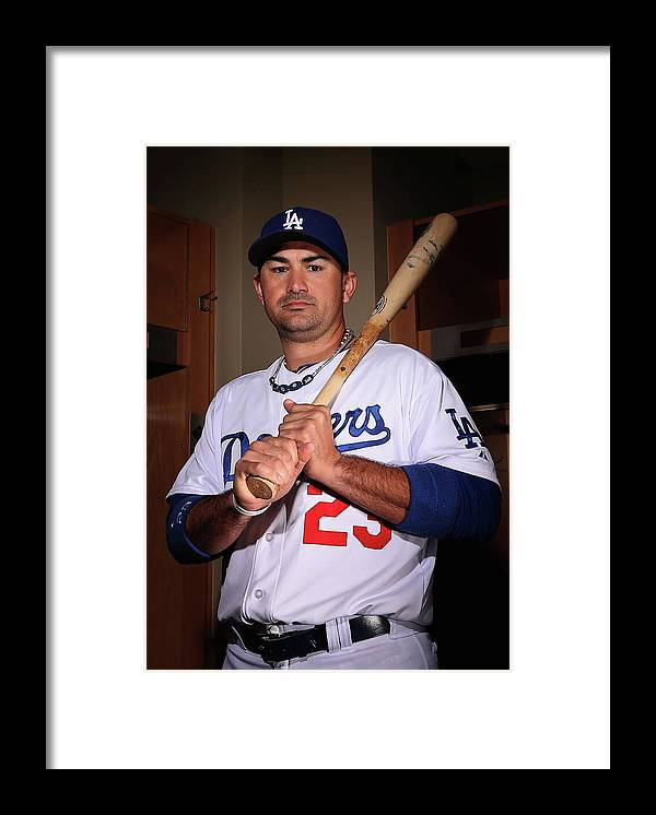 Media Day Framed Print featuring the photograph Adrian Gonzalez by Christian Petersen