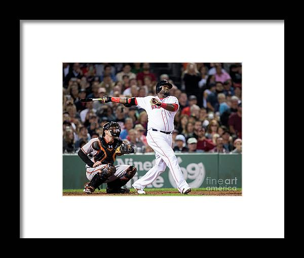 American League Baseball Framed Print featuring the photograph David Ortiz by Michael Ivins/boston Red Sox