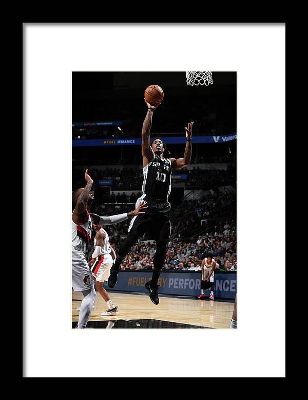Nba Pro Basketball Framed Print featuring the photograph Demar Derozan by Garrett Ellwood