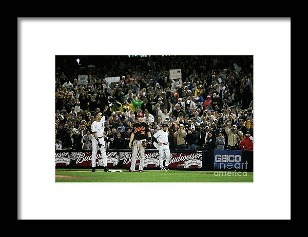 American League Baseball Framed Print featuring the photograph Derek Jeter by Mike Ehrmann