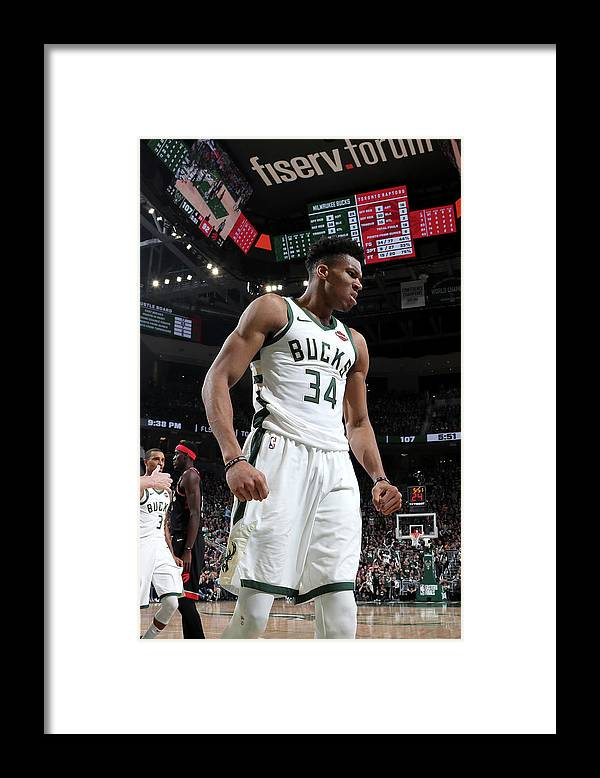 Game Two Framed Print featuring the photograph Giannis Antetokounmpo by Nathaniel S. Butler