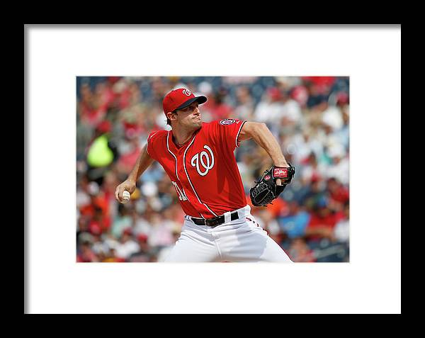 Three Quarter Length Framed Print featuring the photograph Max Scherzer by Rob Carr