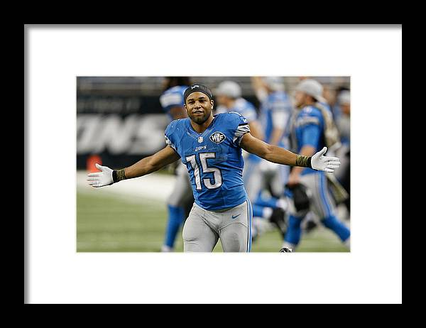 Three Quarter Length Framed Print featuring the photograph Miami Dolphins v Detroit Lions by Joe Robbins