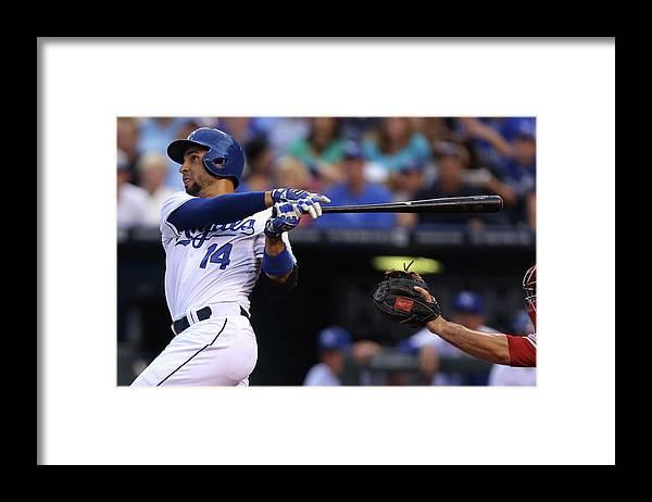 American League Baseball Framed Print featuring the photograph Omar Infante by Ed Zurga