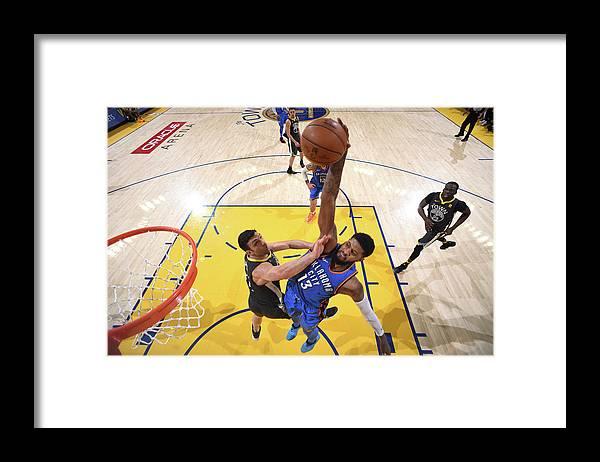 Nba Pro Basketball Framed Print featuring the photograph Paul George by Garrett Ellwood