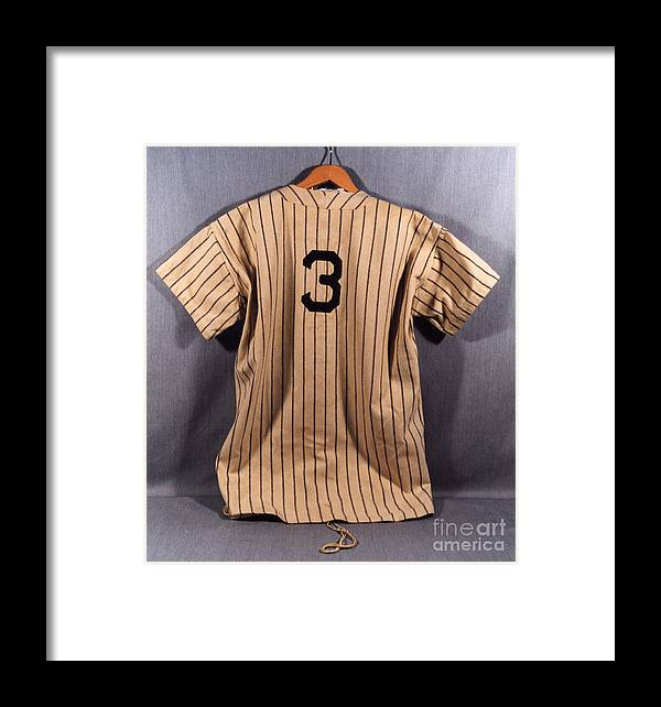 Baseball Uniform Framed Print featuring the photograph Babe Ruth by National Baseball Hall Of Fame Library