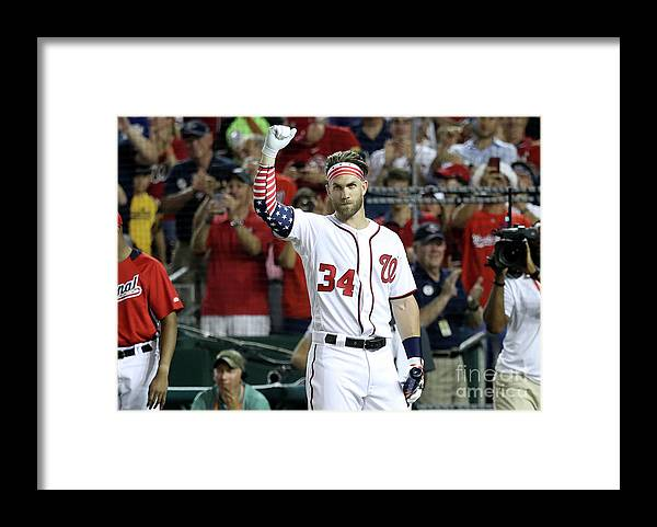 Three Quarter Length Framed Print featuring the photograph Bryce Harper by Rob Carr