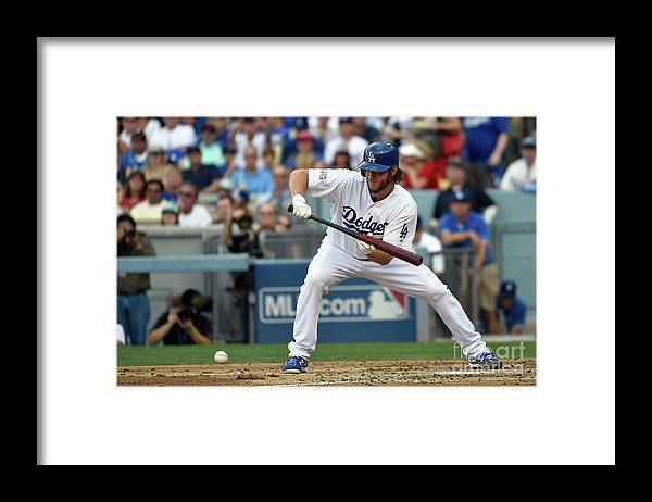 Second Inning Framed Print featuring the photograph Clayton Kershaw by Kevork Djansezian