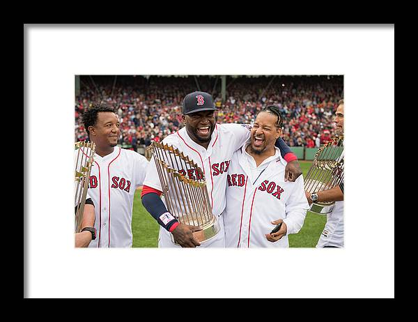 People Framed Print featuring the photograph David Ortiz by Michael Ivins/boston Red Sox