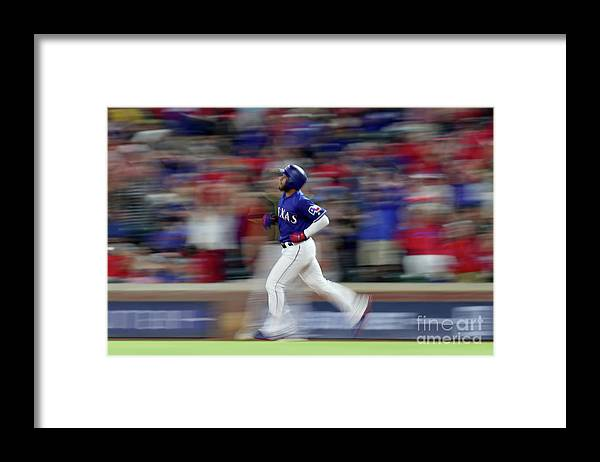 People Framed Print featuring the photograph Elvis Andrus by Tom Pennington