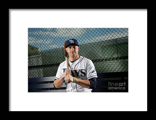 Media Day Framed Print featuring the photograph Evan Longoria by Brian Blanco