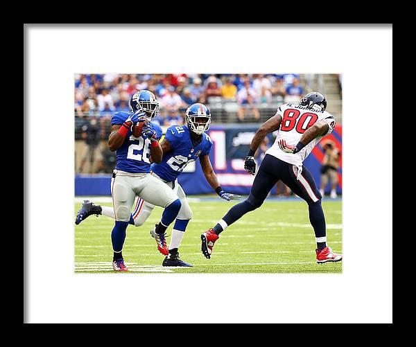 Houston Texans Framed Print featuring the photograph Houston Texans v New York Giants by Al Bello