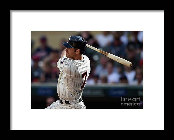 Three Quarter Length Framed Print featuring the photograph Joe Mauer by Hannah Foslien