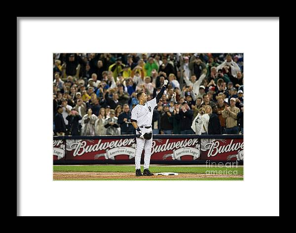 People Framed Print featuring the photograph Lou Gehrig And Derek Jeter by Icon Sports Wire