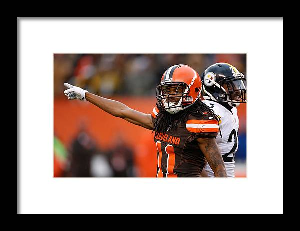 American Football Framed Print featuring the photograph Pittsburgh Steelers v Cleveland Browns by Gregory Shamus