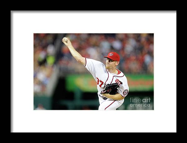 American League Baseball Framed Print featuring the photograph Stephen Strasburg by Greg Fiume