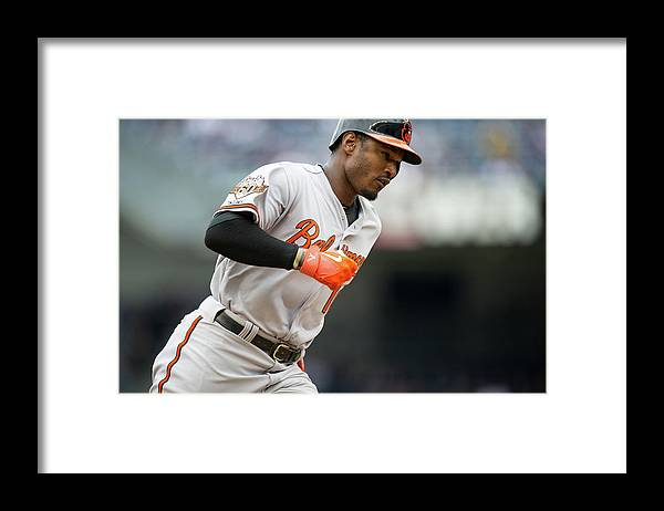 American League Baseball Framed Print featuring the photograph Adam Jones by Rob Tringali