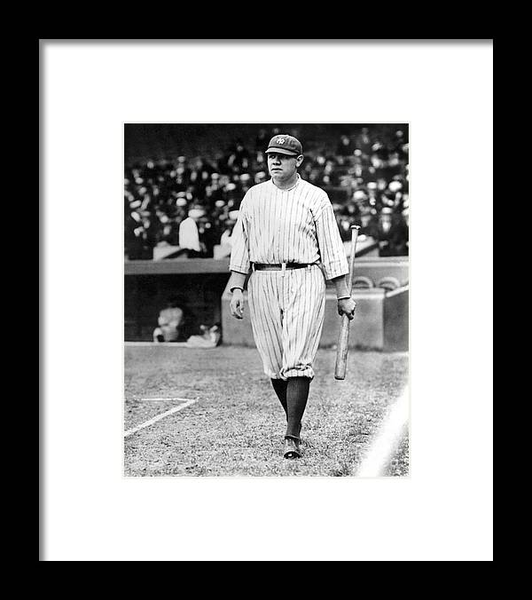 Home Base Framed Print featuring the photograph Babe Ruth by National Baseball Hall Of Fame Library