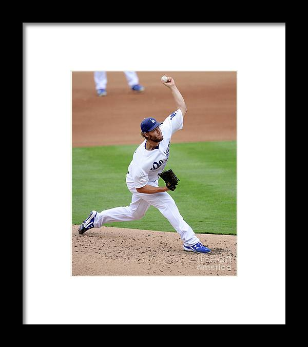 People Framed Print featuring the photograph Clayton Kershaw by Kevork Djansezian