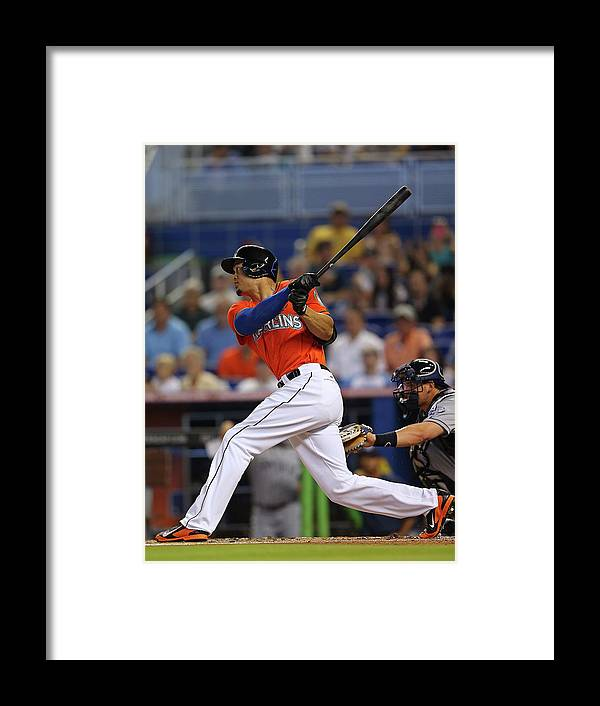 American League Baseball Framed Print featuring the photograph Giancarlo Stanton by Mike Ehrmann