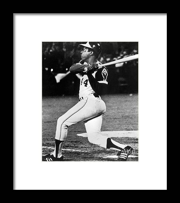 Sports Bat Framed Print featuring the photograph Hank Aaron by National Baseball Hall Of Fame Library