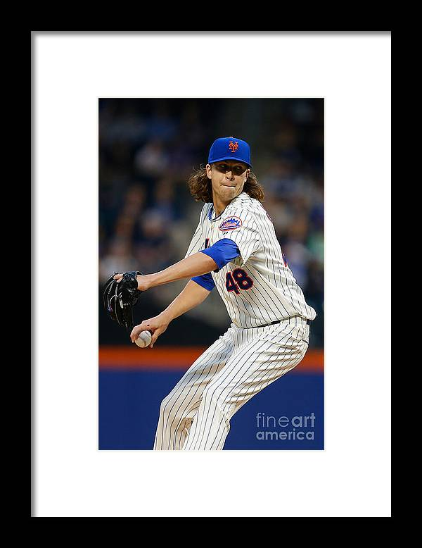 Jacob Degrom Framed Print featuring the photograph Jacob Degrom by Mike Stobe