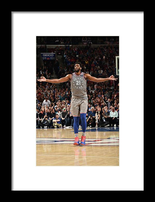 Nba Pro Basketball Framed Print featuring the photograph Joel Embiid by David Dow