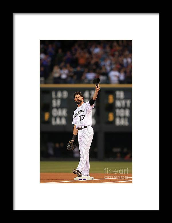 Crowd Framed Print featuring the photograph Todd Helton by Doug Pensinger