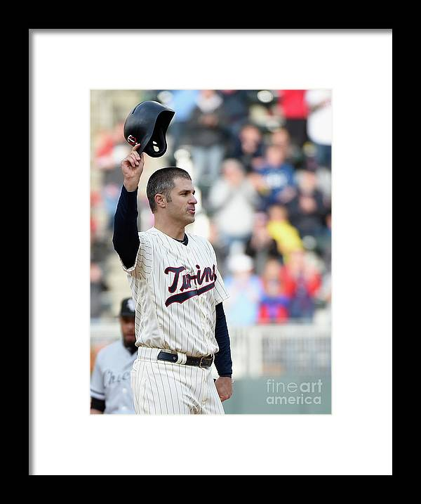 Crowd Framed Print featuring the photograph Joe Mauer by Hannah Foslien