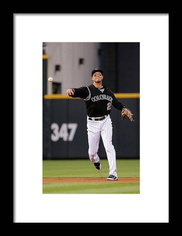 People Framed Print featuring the photograph Troy Tulowitzki by Doug Pensinger