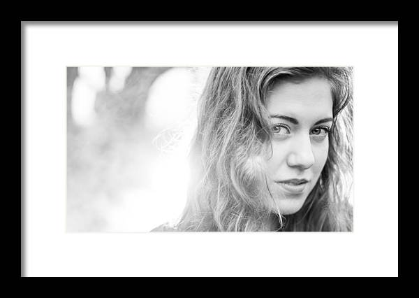 People Framed Print featuring the photograph Beautiful young woman in the woods by Theasis