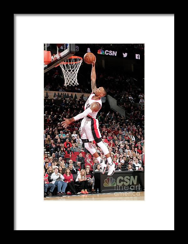 Nba Pro Basketball Framed Print featuring the photograph Damian Lillard by Cameron Browne