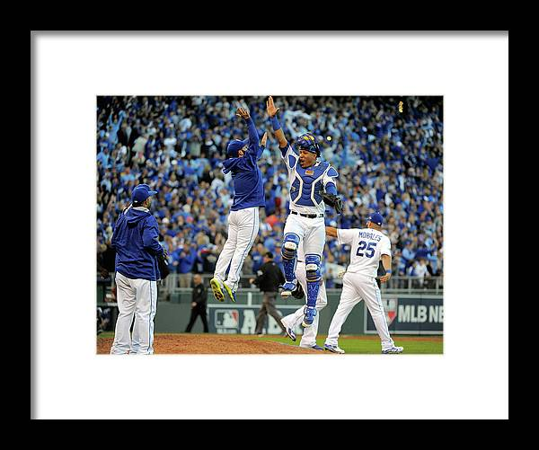 Game Two Framed Print featuring the photograph Salvador Perez by Ed Zurga
