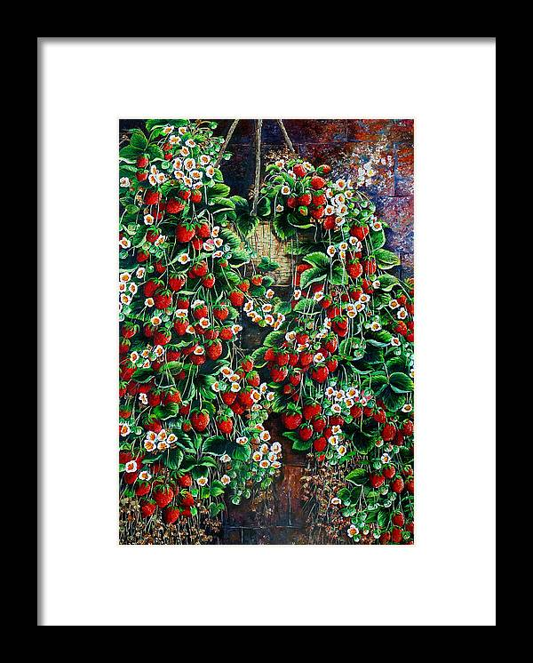 Fruit Painting Strawberry Painting Red Floral Painting Hanging Strawberry Basket Painting Botanical Painting Fruit Painting Framed Print featuring the painting A Berry Sweet Basket by Karin Dawn Kelshall- Best