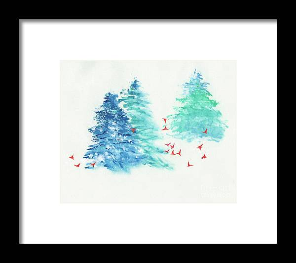 A Flock Of Happy Red Birds Gathers Around A Snowy Wood. It's A Simple Contemporary Chinese Brush Painting On Rice Paper. Framed Print featuring the painting A Happy Flock by Mui-Joo Wee