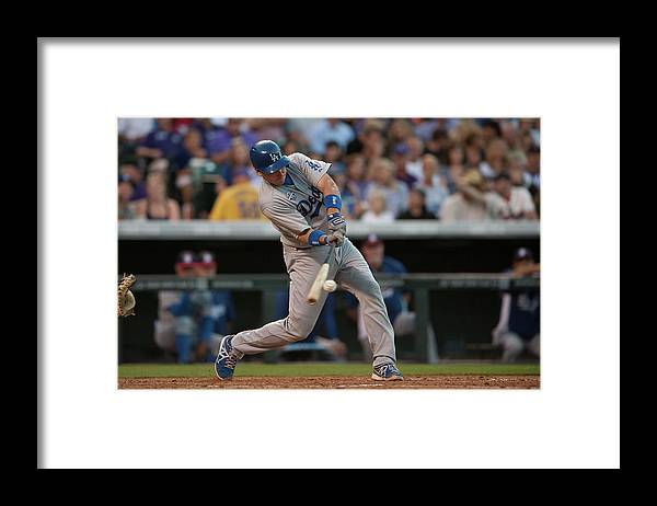 Los Angeles Dodgers Framed Print featuring the photograph A. J. Ellis by Dustin Bradford